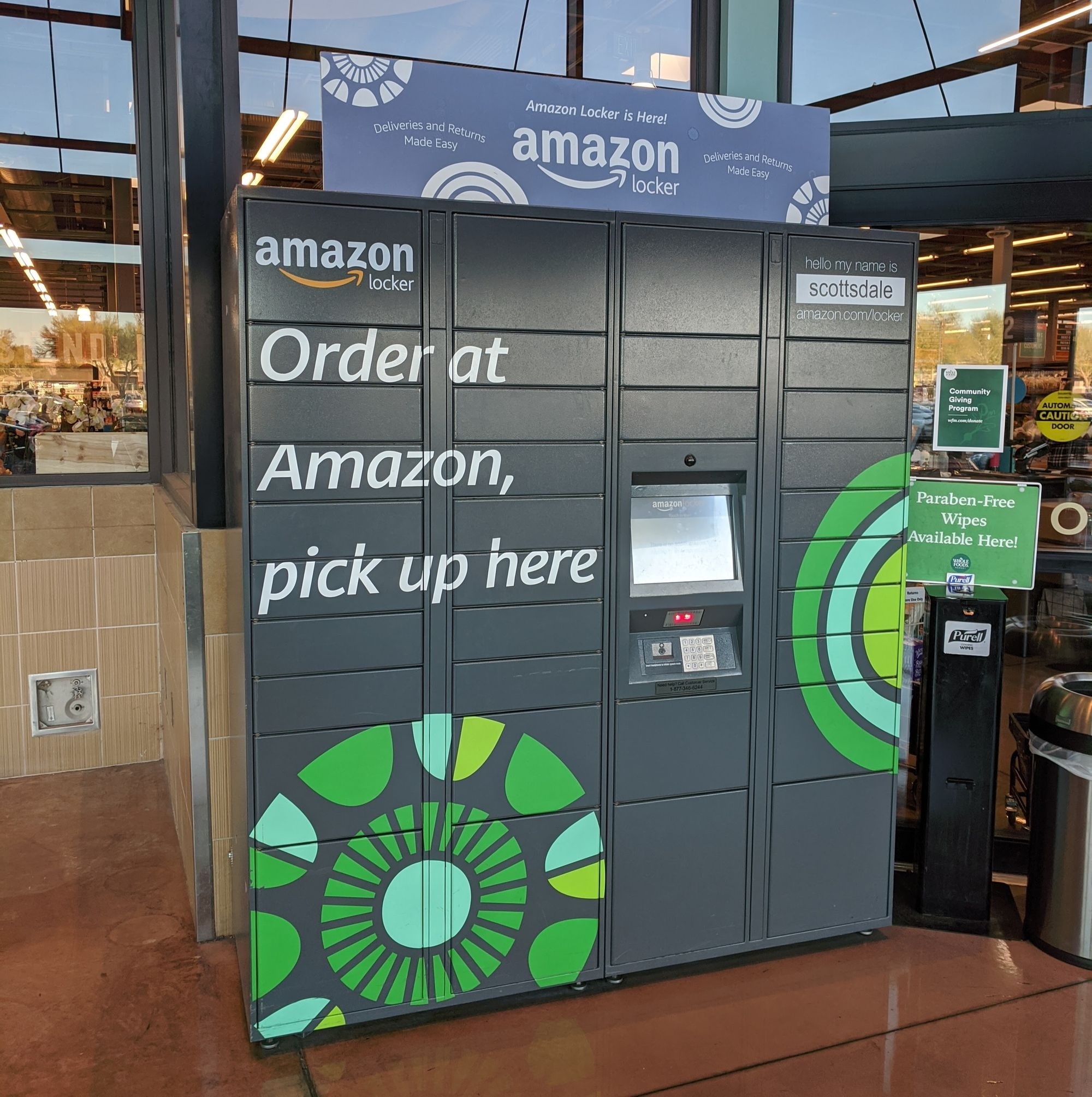 The Amazon Locker in the entrance of Whole Foods