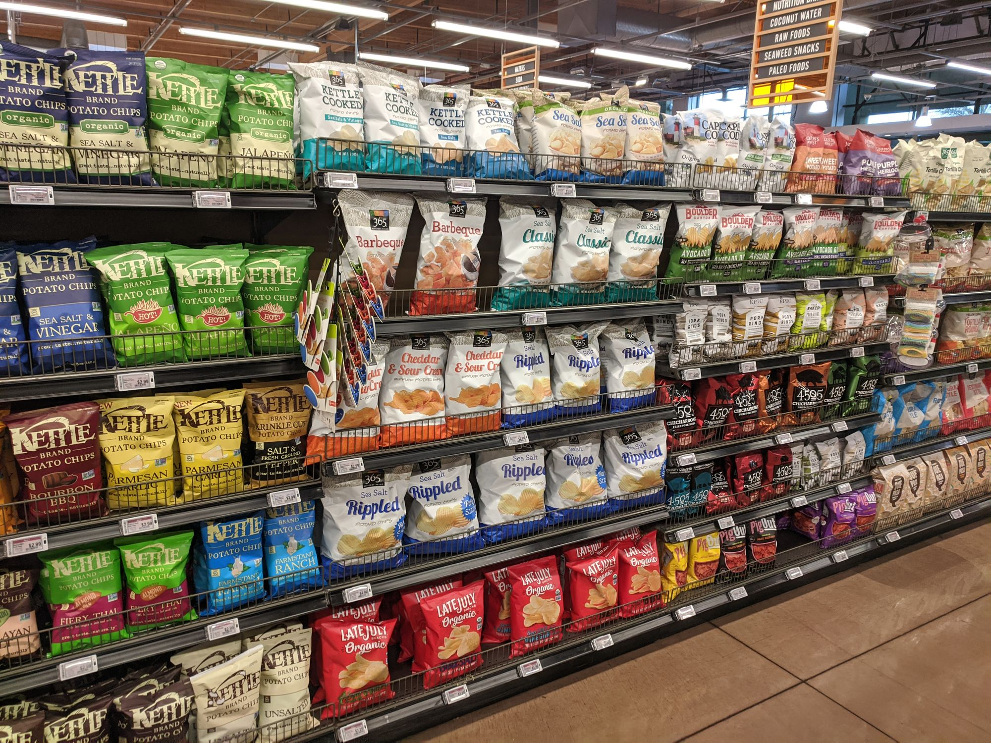 The chip aisle at Whole Foods